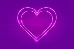 Cartolina d'auguri al neon del cuore di giorno di biglietti di S. Valentino illustrazione di stock