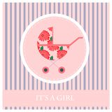Cartolina d'auguri al neonato s una ragazza Fotografia Stock