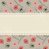 Cartolina d'auguri alla moda con i fiori variopinti e il butterflie del papavero illustrazione di stock