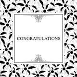 Cartolina d'auguri alla moda con le foglie nere illustrazione vettoriale