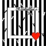Cartolina d'auguri alla moda di giorno di biglietti di S. Valentino Modello con il coniglio della siluetta e del testo ed il cuor illustrazione vettoriale