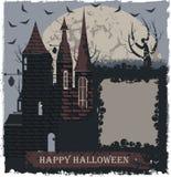 Cartolina d'auguri alla moda di Halloween con il castello della strega Immagini Stock Libere da Diritti