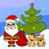 Cartolina d'auguri allegra con Santa Claus e gli orsi royalty illustrazione gratis