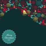 Cartolina d'auguri d'annata della decorazione dell'oro di Natale Immagine Stock