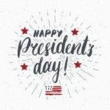 Cartolina d'auguri d'annata di U.S.A. di presidente di giorno felice del ` s, celebrazione degli Stati Uniti d'America Iscrizione illustrazione di stock