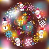 Cartolina d'auguri anno felice di nuovo e di Buon Natale Fotografia Stock Libera da Diritti