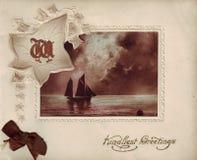 Cartolina d'auguri antica Fotografia Stock