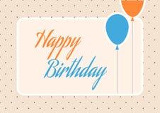 Cartolina d'auguri arancio e blu sveglia di compleanno con i palloni ed i pois Fotografia Stock