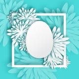 Cartolina d'auguri blu bianca astratta - giorno di Pasqua felice - uovo di Pasqua della primavera Fotografie Stock Libere da Diritti