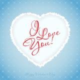 Cartolina d'auguri blu di giorno di biglietti di S. Valentino Immagini Stock