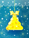 Cartolina d'auguri blu luminosa di Natale Fotografia Stock
