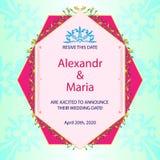 Cartolina d'auguri, carta dell'invito per nozze, celebrazione, anniversario Struttura geometrica, modelli, fiori con le foglie illustrazione vettoriale
