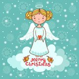Cartolina d'auguri, cartolina di Natale con l'angelo Fotografia Stock Libera da Diritti