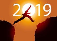 Cartolina d'auguri che mostra un uomo che salta fra due rocce per passare nel 2019 illustrazione di stock