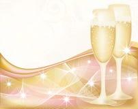 Cartolina d'auguri con champagne, Fotografia Stock