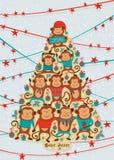 Cartolina d'auguri con con forma dell'albero del nuovo anno con le scimmie Vettore Fotografia Stock
