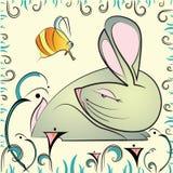 Cartolina d'auguri con coniglio e l'ape astratti illustrazione vettoriale