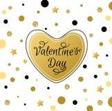 Cartolina d'auguri con cuore dorato Fotografia Stock Libera da Diritti