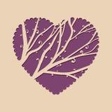 Cartolina d'auguri con cuore e un bello albero Invito del modello per il taglio del laser Cartolina d'auguri per il taglio del tr Fotografia Stock Libera da Diritti