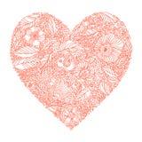 Cartolina d'auguri con cuore fatto dei fiori Fotografie Stock Libere da Diritti