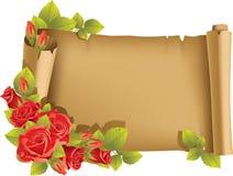 Cartolina d'auguri con di rosa ed il rotolo - orizzontali Fotografia Stock