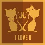 Cartolina d'auguri con due gatti royalty illustrazione gratis