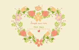 Cartolina d'auguri con figura floreale del cuore Immagine Stock Libera da Diritti