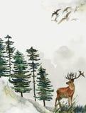 Cartolina d'auguri con fondo della foresta e delle montagne Tema del ` s dei bambini cartolina con i cervi wildlife illustrazione vettoriale