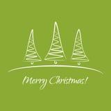 Cartolina d'auguri con gli alberi di Natale Fotografia Stock