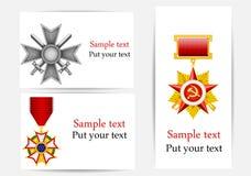 Cartolina d'auguri con gli oggetti militari Immagine Stock