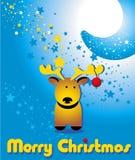 Cartolina d'auguri con i cervi divertenti di Natale e la luna Fotografia Stock