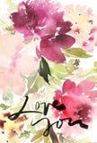 Cartolina d'auguri con i fiori Immagini Stock Libere da Diritti