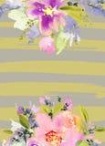 Cartolina d'auguri con i fiori Fotografie Stock