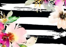 Cartolina d'auguri con i fiori Fotografie Stock Libere da Diritti
