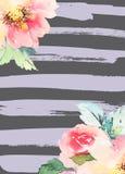 Cartolina d'auguri con i fiori Immagine Stock