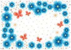 Cartolina d'auguri con i fiori astratti blu con il posto per testo illustrazione vettoriale