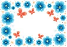 Cartolina d'auguri con i fiori astratti blu con il posto per testo royalty illustrazione gratis