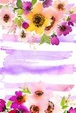 Cartolina d'auguri con i fiori dell'acquerello Immagine Stock Libera da Diritti