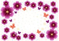 Cartolina d'auguri con i fiori trasparenti rossi con il posto per testo royalty illustrazione gratis