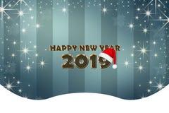 Cartolina d'auguri con i nuovi anni 2019 ed albero di Natale stilizzato sui precedenti immagini stock
