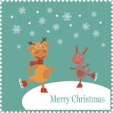 Cartolina d'auguri con i pattini del coniglio e dei cervi Fotografia Stock