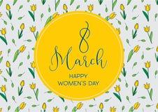 Cartolina d'auguri con i tulipani, formato orizzontale Giorno internazionale di Women's 8 marzo Immagini Stock Libere da Diritti