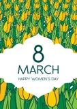 Cartolina d'auguri con i tulipani, formato verticale Giorno internazionale di Women's 8 marzo Fotografia Stock Libera da Diritti