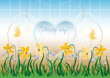Cartolina d'auguri con i wildflowers e la struttura di cuore Fotografie Stock