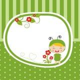 Cartolina d'auguri con il bambino vestito come cavalletta royalty illustrazione gratis