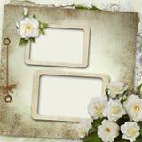 Cartolina d'auguri con il blocco per grafici ed il mazzo delle rose Immagini Stock