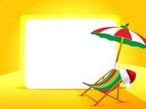 Cartolina d'auguri con il cappello di Natale su un fondo giallo Fotografia Stock