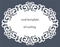 Cartolina d'auguri con il confine ovale decorativo, centrino di carta sotto il dolce, modello per il taglio, invito di nozze, p d illustrazione vettoriale