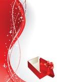 Cartolina d'auguri con il contenitore di regalo Fotografie Stock