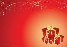 Cartolina d'auguri con il contenitore di regalo Immagine Stock Libera da Diritti